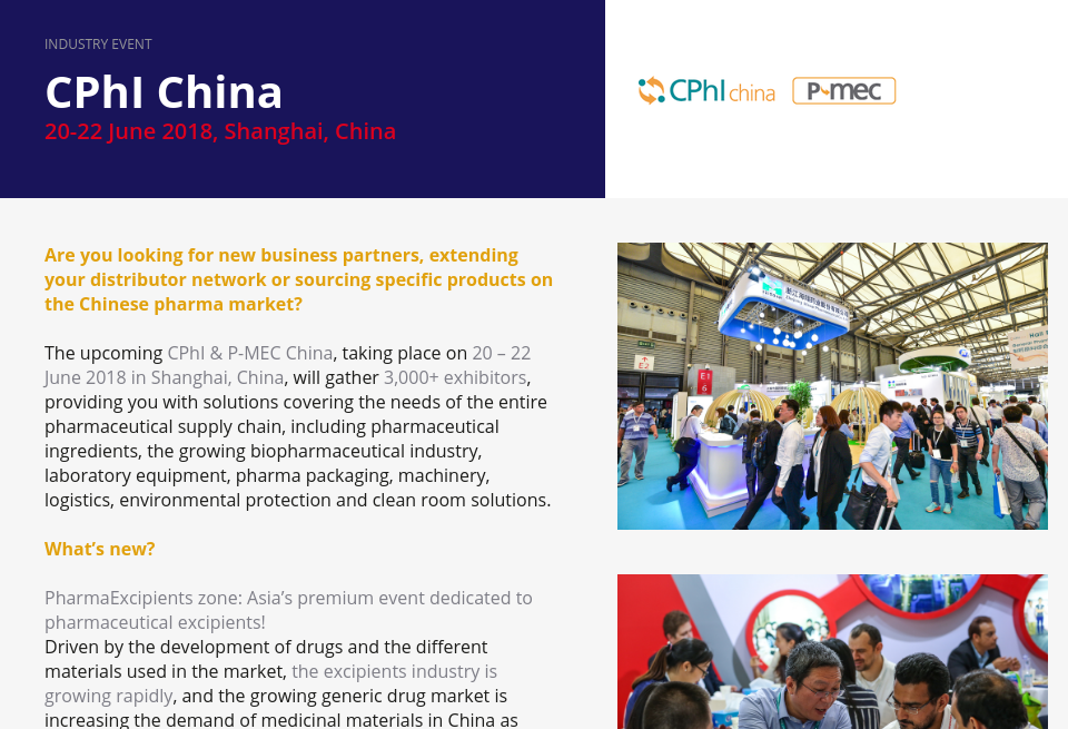 Event Cphi China Pharma Technology Focus Issue 69 April 2018