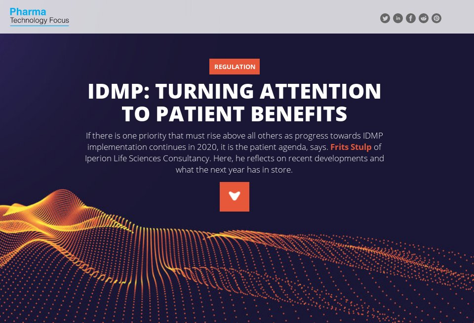 IDMP: Turning attention to patient benefits via NRI's Pharma Technology Focus and Frits Stulp from IPERION – http://ow.ly/xmpL50y7Pq6 #IDMP #Pharma #LifeSciences #patients