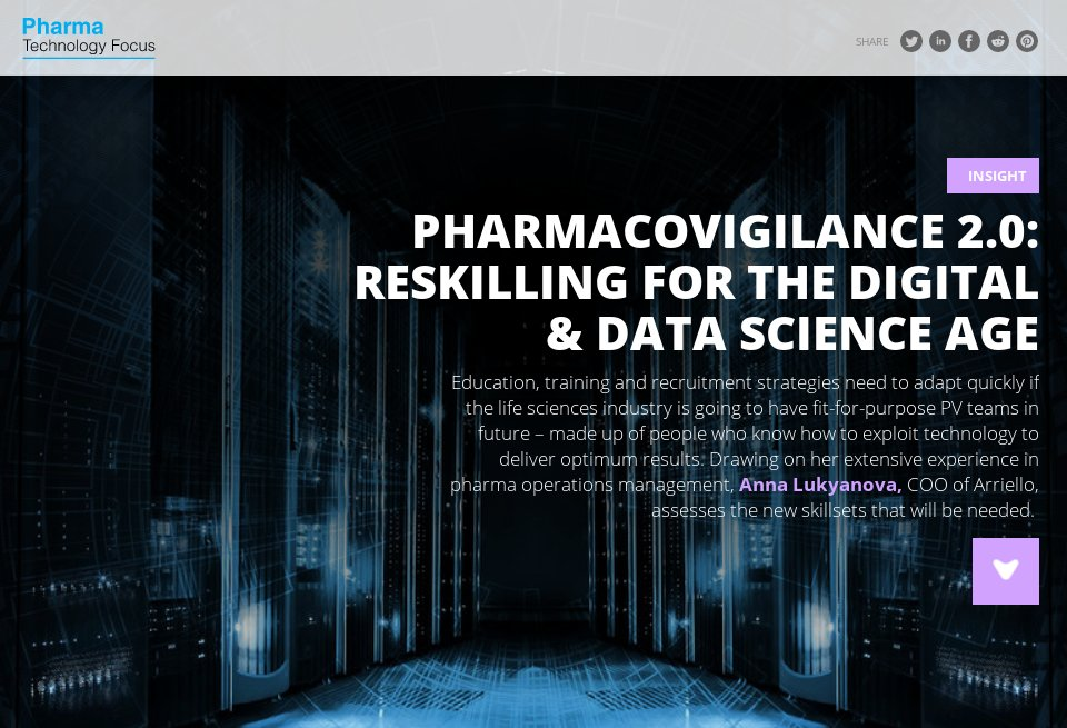 Pharmacovigilance 2.0: reskilling for the digital and data science age via NRI's Pharma Tech Focus and Arriello COO Anna Lukyanova http://ow.ly/oUWR50xW5BE #PV #LifeSciences #Pharma #pharmacovigilance
