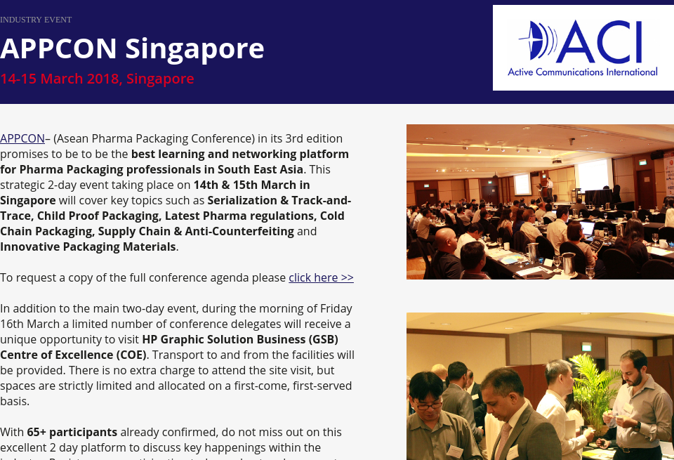 Event: APPCON Singapore - Pharma Technology focus | Issue 68 | March